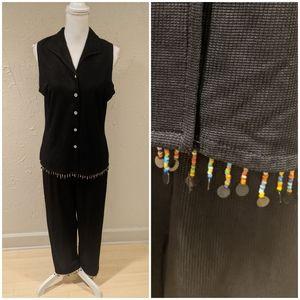 90s Dangle Bead 2 Piece Set Button Tank & Pants XL